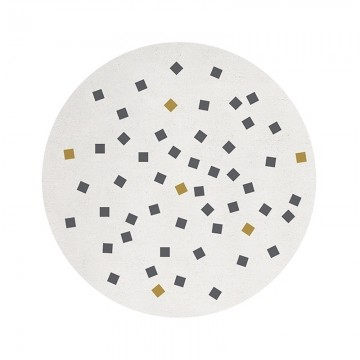 Alfombra circular cuadrícula negra sobre blanco h0511